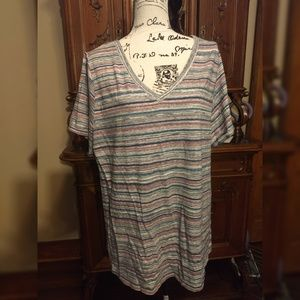 Lularoe Christy T 3xl Shirt stripes pink blue grey